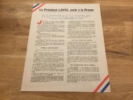 Document Le Président Laval Parle à La Presse état Français 1940-44 - 1939-45
