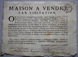 Affiche D'époque Maison à Vendre Fauxbourg Bannier à Orléans Cachet Généralité 1756 - Historical Documents