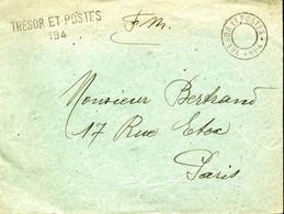 TRESOR ET POSTES 194 TAD Sans Bloc Dateur + Griffe Linéaire TRESOR ET POSTES / 194 Lettre Pour PARIS - Guerra Del 1914-18