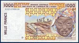 WEST AFRICAN STATES Afrique De L'Ouest - MALI 1000 FRANCS P-411Dc Peanuts Hauling Woman River Houses 1993 UNC - Mali