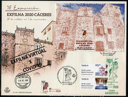 ESPAÑA SPAIN ESPAGNE (2020) - ATM + HB 58 Exposicion EXFILNA 2020 CACERES - EXFILNA VIRTUAL X COVID 19 - FDC - FDC