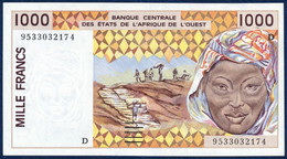 WEST AFRICAN STATES Afrique De L'Ouest - MALI 1000 FRANCS P- 411De Peanuts Hauling Woman River Houses 1995 UNC - Mali