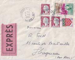 Lettre EXPRES De Strasbourg -67- Pour Haguenau -67 - Oblit. 4/04/1963 - Dunkerque - Decaris  -amiens - Briefe U. Dokumente
