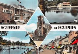 Souvenir De FOURMIES - Eglise, Théâtre Municipal, Meubles Moret, Piscine, Automobile - Philatélie Cachet Hirson à Lille - Fourmies