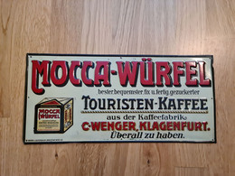 "Blech-Reklame-Schild  ""Mocca Würfel Touristenkaffee – Wenger Klagenfurt"" - Non Classificati"