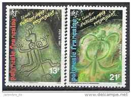 1987 POLYNESIE FRANCAISE 280-81** Petroglyphe, Tortue - Unused Stamps
