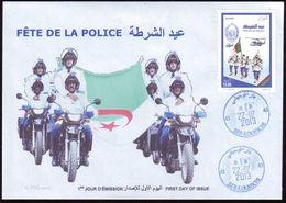 ALGERIA ALGERIE 2013 - FDC - Helicopter - Policiers - Helicopter Police Polizei Policía Politie Hubschrauber Motos BMW - Policia – Guardia Civil