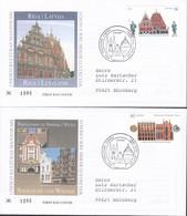 LETTLAND  702-703, 2 FDC, Echt Gelaufen (mit Strichcode), UNESCO-Welterbe: Riga, Stralsund, 2007 - Latvia
