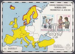 NORWEGEN  1019-1020, Als Farbdruck Auf Karte, Gestempelt, Zur NORDIA '89, Europa CEPT: Kinderspiele 1989 - 1989