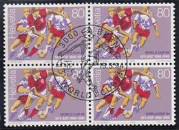 SCHWEIZ  1524, 4erBlock, Zentrisch Gestempelt, Fußball-WM USA 1994 - Used Stamps