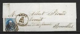 OBP11A Op Brief Van 14 Dec. 1858 Vanuit Mons Naar Bruxelles Met Aankomststempel - 1858-1862 Medallions (9/12)
