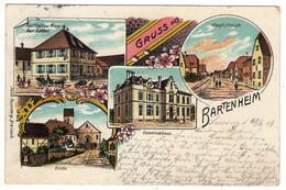 68 : Gruss Aus  Bartenheim : Litho Couleur Multivues : - Otros Municipios