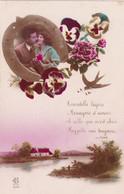 Couple : Amour : Porte Bonheur : Couple Dans, Un  Fer à Cheval, : Hirondelle - Pensée - Paysage : Colorisée : - Couples