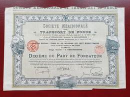 DECO 1/10 Part De Fondateur Carcassonne Aude 11 1929 - Elektrizität & Gas