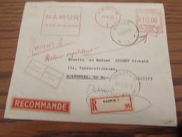 Lettre Recommandée Affranchie Mécaniquement à Namur 1 En 1964 Pour Molenbeek. NON DISTRIBUEE (divers Papillons) - Other