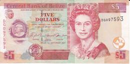 BILLETE DE BELIZE DE 5 DOLLARS  DEL AÑO 2007  (BANKNOTE) - Belize