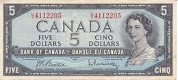 BILLETE DE CANADA DE 5 DOLLARS DEL AÑO 1954 CALIDAD EBC (XF) (BANKNOTE) - Canada