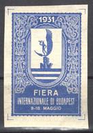 ITALY Italia - HUNGARY BUDAPEST International Exhibition Fair CINDERELLA LABEL VIGNETTE 1931 - Minerva MYTHOLOGY - Sonstige