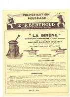 "ETS P. BERTHOUD -BELLEVILLE/SAONE - ""LA SIRENE"" Soufreuse-poudreuse -broyer-malaxeur - Reclame"