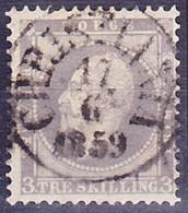 "20-178 Norway 1857 Mi 3 Used ""Christiania"" O - Unclassified"