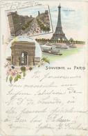 75 Paris Précurseur Souvenir De ... Tour Eiffel Arc De Triomphe Perspective Boulevard Des Italiens 1899 - Other