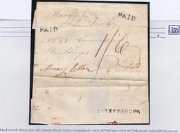 """Ireland Derry Registered 1836 """"Money Letter"""" Paid """"1/6"""" Magherafelt Unframed PAID Masonic Correspondence - Vorphilatelie"""