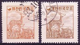 20-235 South Korea 1958 Cervus Nippon Defs. With Wmk Post Emblem, Mi 276-277 Used O - Corée Du Sud