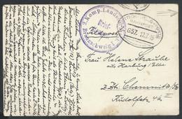 Photo Carte En Feldpost Datée De Seraing + Ambulant Oval LUTTICH - TROIS PONT Pour Chemmitz + Censure - [OC1/25] Gouv. Gén.