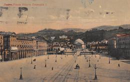 "10076 ""TORINO-PIAZZA VITTORIO EMANUELE I"" ANIMATA-VERA FOTO-CARTOLINA SPEDITA 1924 - Places & Squares"