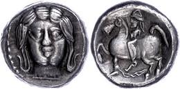 Ostkelten, Oltenien, Tetradrachme (13,54g), 3./2. Jh. V. Chr., Typ Apollokopf. Av: Stilisierter Apollokopf Von Vorn. Rev - Galle