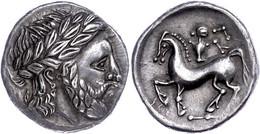 Ostkelten, Westliches Siebenbürgen, Tetradrachme (13,67g), Ca. 2./1. Jh. V. Chr. Av: Stilisierter Zeuskopf Nach Rechts.  - Galle