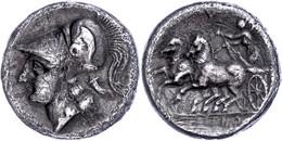 Cales, Didrachme (7,02g), Ca. 265-240 V. Chr. Av: Athenakopf Mit Korinthischem Helm Nach Links. Rev: Moke In Biga Nach L - Non Classificati