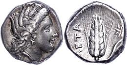 "Metapont, Stater (7,75g), 330-300 V. Chr.. Av: Kopf Der Demata Nach Rechts. Rev: Ähre Mit Blatt, Links ""META"". SNG ANS 4 - Non Classificati"