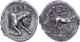 Gela, Tetradrachme (16,49g), Ca. 450-440 V. Chr. Av: Quadriga Nach Rechts, Darüber Fliegende Nike Nach Rechts. Rev: Stie - Non Classificati