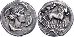Syrakus, Tetradrachme (17,26g), 450-440 V. Chr. Av: Kopf Der Arethusa Nach Rechts, Darum Vier Delphine. Rev: Quadriga Na - Non Classificati