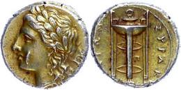 Syrakus, Elektron 25 Litren (3,65g), 310/300 V. Chr., Agathokles 317-289 V. Chr. Av.:  Apollonkopf N.l., Im Feld R. Kran - Non Classificati