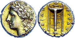 Syrakus, Elektron 25 Litren (3,71g), 310-300 V. Chr., Agathokles. Av: Apollonkopf Nach Links. Rev: Dreifuß. Vgl. SNG ANS - Non Classificati