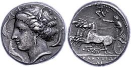 Syrakus, Tetradrachme (17,11g), Ca. 310-305 V. Chr. Av: Quadriga Nach Links, Darüber Triskele. Rev: Kopf Der Arethusa Na - Non Classificati