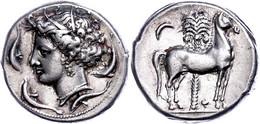 Karthager Auf Sizilien, Tetradrachme (16,99g), Ca. 330 V. Chr. Av: Kopf Der Tanit Nach Links, Darum Vier Delphine. Rev:  - Non Classificati