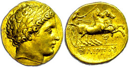Stater (8,58g), Philipp II., 359-336 V. Chr., Pella. Av: Apollokopf Nach Rechts. Rev: Biga Nach Rechts, Im Feld Rechts K - Non Classificati