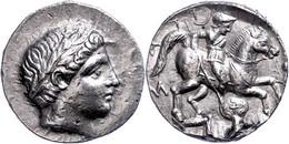 Paionien, Patraos, Tetradrachme (12,63g), 340-315 V. Chr. Av: Apollonkopf Nach Rechts. Rev: Reiter Mit Lanze Ersticht Ei - Non Classificati