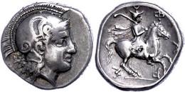 Pharsalos, Drachme (6,00g), Ca. 400 V. Chr. Av: Behelmter Athenakopf Nach Rechts. Rev: Reiter Nach Rechts. Kl. Punze, Ss - Non Classificati