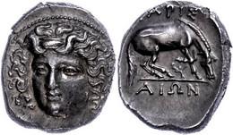Larissa, Drachme (6,08g), 350-325 V. Chr. Av: Kopf Der Nymphe Larissa Im 3/4 Provil Nach Links. Rev: Weidendes Pferd Nac - Non Classificati