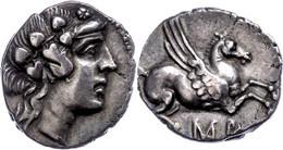 Drachme (4,76g), Ca. 229-48 V. Chr. Av: Dionysoskopf Mit Efeukranz Rechts. Rev: Pegasos. BMC 359, Ss. Mit Unterlegzettel - Non Classificati