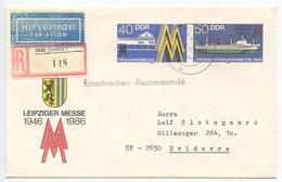 Germany, East DDR 1986 Registered Postal Envelope Colditz To Hvidovre Denmark - Sobres - Usados