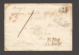 1838 Penny Post Letter  Front  To Shelburne - Multiple Markings «No 4» «T.P. Rate 2d» «To Pay 1d Only» - ...-1840 Voorlopers