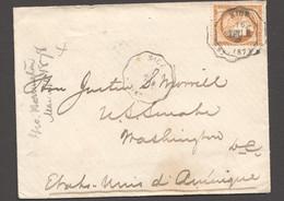 Enveloppe De Nice (Cachet Convoyeur) Pour Les USA No 38 Seul - 1870 Siege Of Paris