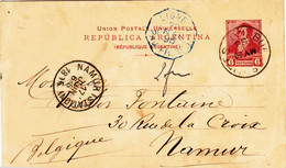 Entier Postal D'ARGENTINE Vers NAMUR 1895 - Ganzsachen