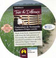 ETIQUETTE FROMAGE CAMEMBERT -  SAINSBURY'S -  EXPORT -  ISIGNY STE MERE AOC -   FAB EN NORMANDIE - Käse