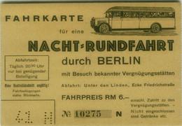 GERMANY - OLD BUS TICKET / FAHRKARTE FÜR EINE NACHT RUNDFAHRT DURCH BERLIN  ( BG10128) - Europa
